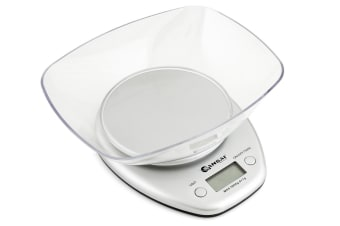 Sansai Digital Glass Kitchen Scale Bowl Cook Measuring White Large LCD Display