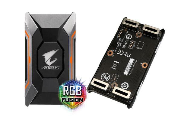 Gigabyte GC-A2WAYSLIL RGB AORUS SLI HB bridge RGB  4K+ 8cm 2 slot spacing for nVidia GTX 10 series graphic cards Dual Link SLI HB