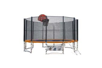 Up-Shot 16ft Round Trampoline Basketball Set Safety Net Spring Pad Ladder
