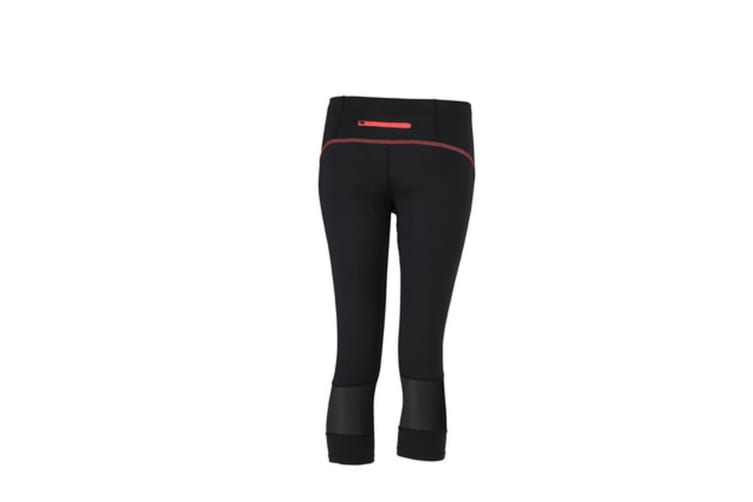 James and Nicholson Womens/Ladies 3/4 Length Running Tights (Black/Tomato) (XS)