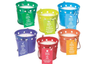 3 x Keep Calm Scented Candle in Metal Bucket Assorted