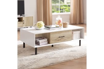 White Modern Coffee Table Wooden Table Storage Shelf Home Living Furniture