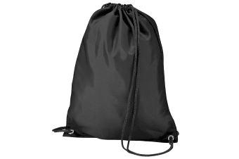 BagBase Budget Water Resistant Sports Gymsac Drawstring Bag (11 Litres) (Black)
