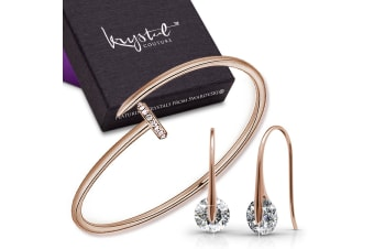 Modern Bangle and Earrings Set Embellished with Swarovski crystals