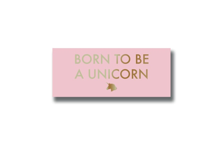 Hill Interiors Born To Be A Unicorn Quote Wall Plaque (Pink) (H10.5 x W25 x D1.8cm)