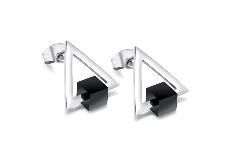 Modern Geometric Style Stud Earrings Circles II-White Gold/Black