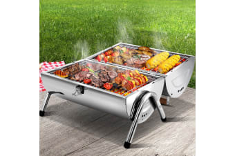 Grillz Portable BBQ Grill Outdoor Camping Charcoal Barbeque Smoker Foldable