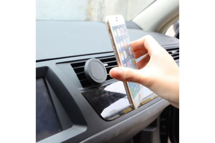 TODO Magnetic Quick Snap Car Air Vent Mount Leather Card Case Iphone 6+ Plus - Red