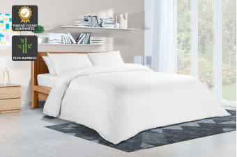 Ovela 400TC 100% Bamboo Quilt Cover Set (King, White)
