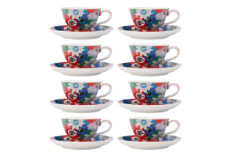 8PK Maxwell & Williams Teas & C's 200ml Footed Cup w  Saucer Set Passion Vine BL