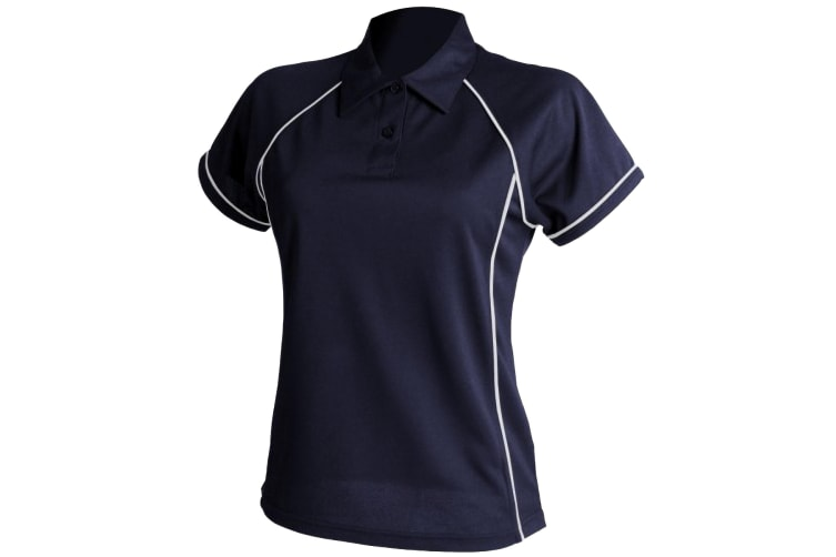 Finden & Hales Womens Coolplus Piped Sports Polo Shirt (Navy/White) (XL)