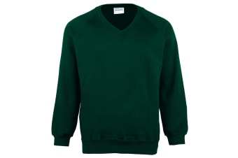Maddins Childrens Unisex Coloursure V-Neck Sweatshirt / Schoolwear (Bottle Green) (24)
