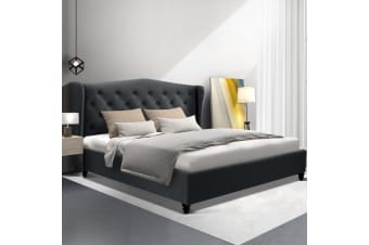 Artiss Double Full Size Bed Frame Base  Platform Fabric Wooden Charcoal