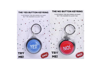 The YES! & NO! Button KeyChain Keyring 10 Different Sayings Novelty Office Gift