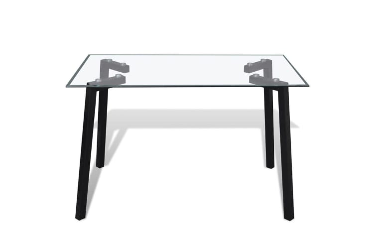 vidaXL Dining Table with Glass Top and Black Legs