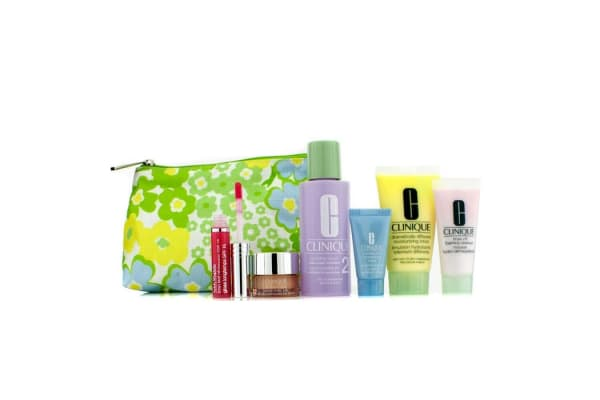 Clinique Travel Set: Foaming Cleanser + Clarifying Lotion #2 + DDML + Turnaround Concentrate + All About Eyes + Lip Gloss #14 + Bag (6pcs+1bag)