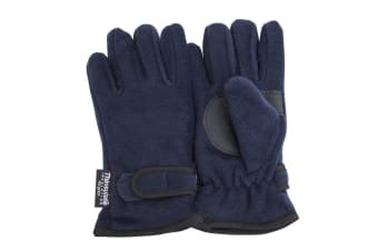 FLOSO Childrens/Kids Thermal Thinsulate Fleece Gloves With Palm Grip (3M 40g) (Navy)