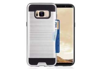 For Samsung Galaxy S8 PLUS Case Strong Protective Cover with Card Slot Silver