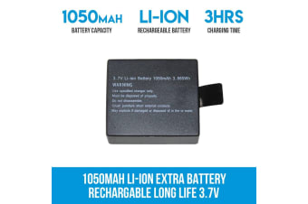 Elinz 1050mAH Li-ion Extra Battery Rechargable Long Life 3.7V Sports Action Camera 4K