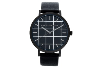 Christian Paul Men's 43mm Strand Grid Wrist Watch w/ Leather Strap Band Black