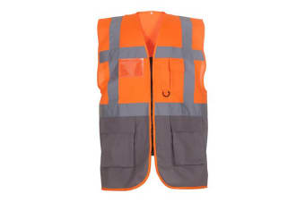 Yoko Hi-Vis Premium Executive/Manager Waistcoat / Jacket (Hi Vis Orange/Grey) (3XL)