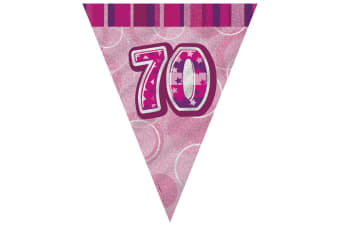 Unique Party Pink 70 Glitz Pennant Bunting (Pink) (One Size)