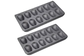 2x Mastercraft 40x20cm 12 Cup Holes Madeleine Biscuit Mold Mould Baking Pan Tray