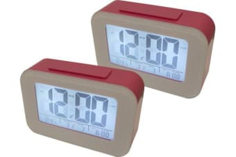 2X Smart Light Lcd Alarm Clock Backlit Display Portable Battery Operated Pink