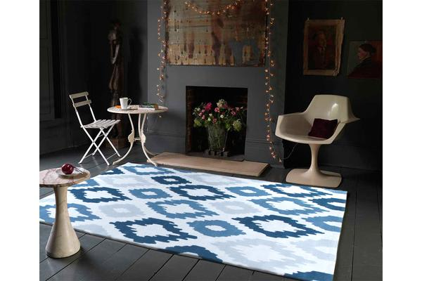 Ikat Diamonds Blue Grey Rug 165x115cm