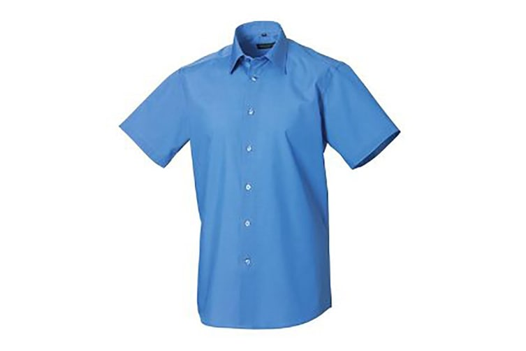 Russell Collection Mens Short Sleeve Poly-Cotton Easy Care Tailored Poplin Shirt (Corporate Blue) (XL)