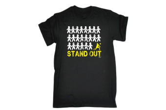 123T Funny Tee - Stand Out Volleyball - (Small Black Mens T Shirt)