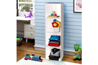 Wooden Storage Unit 4 Cube Strong Bookcase Shelving - White