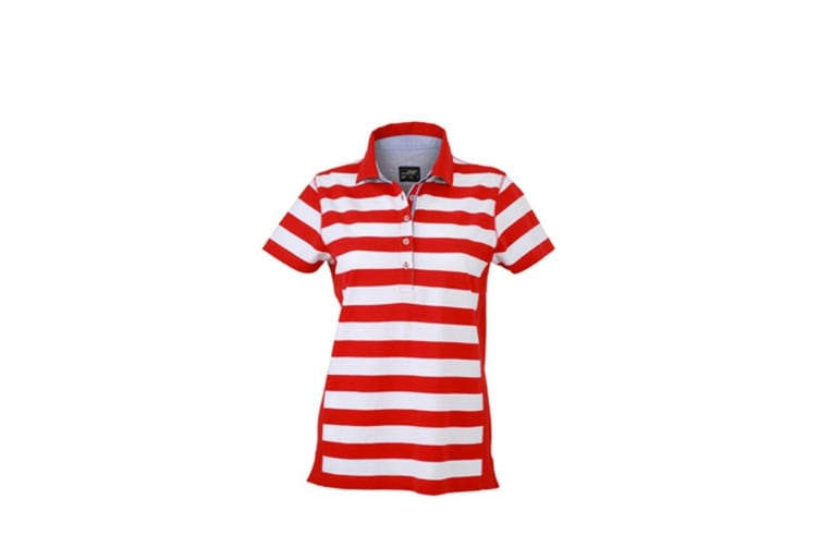 James and Nicholson Womens/Ladies Maritime Polo (Red/White) (L)