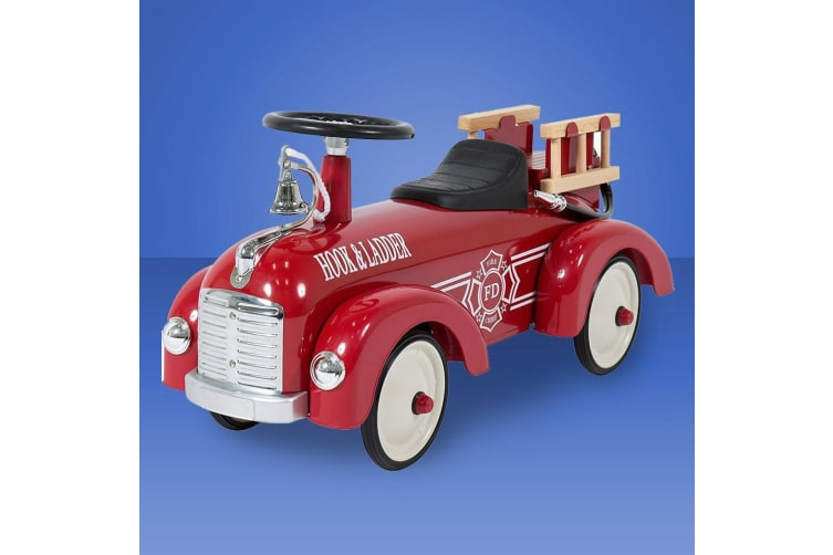 Classic Metal Scoot-A-Long Fire Engine Truck With Ladders & Bell