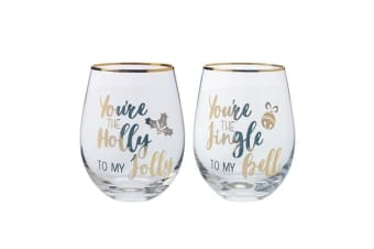 Maxwell & Williams Celebrations Stemless Glass 500ml Set of 2 Jingle