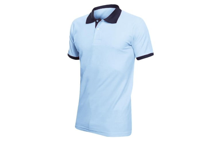 SOLS Prince Unisex Contrast Pique Short Sleeve Cotton Polo Shirt (Sky Blue/French Navy) (L)