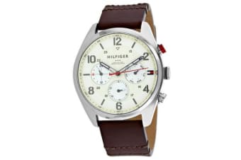 Tommy Hilfiger Men's Classic Watch (Beige Dial, Leather Strap)