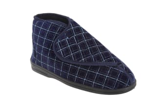 Zedzzz Mens Bertie Check Velour Touch Fastening Bootee Slippers (Navy Blue)