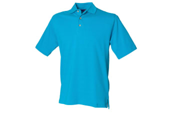 Henbury Mens Classic Plain Polo Shirt With Stand Up Collar (Turquoise)