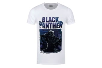 Black Panther Unisex Adults Image And Logo Design T-Shirt (White)
