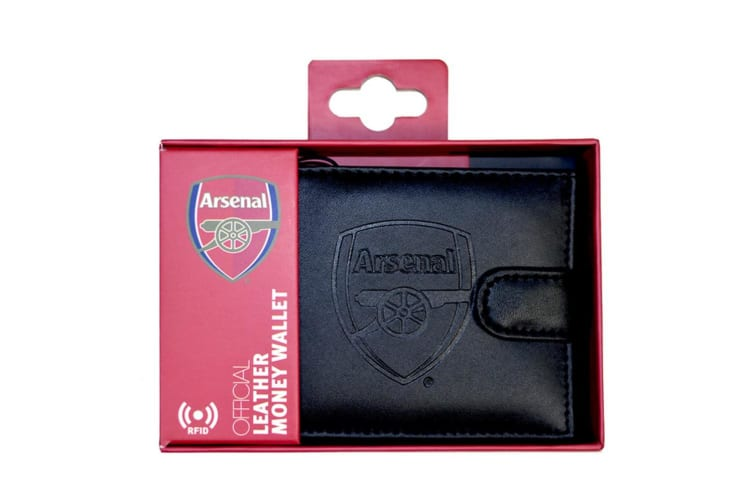 Arsenal FC RFID Embossed Leather Wallet (Black) (One Size)
