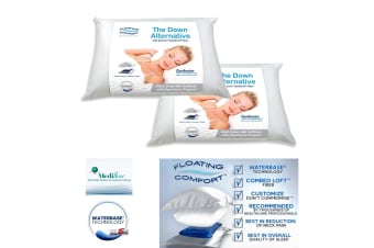Twin Pack Adjustable Mediflow Floating Comfort Down Alternative Waterbase Pillows