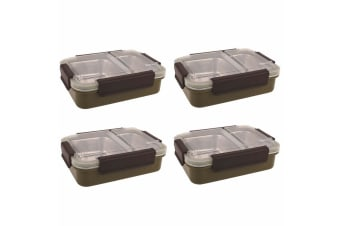 4PK Oasis 23cm Stainless Steel 2 Compartments Lunchbox Food Container Box Khaki