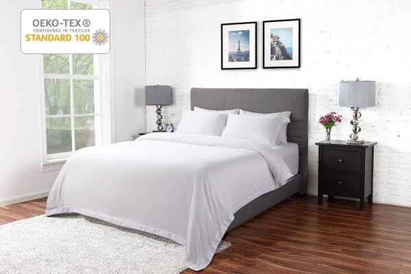 Ovela 1000TC Cotton Rich Luxury Quilt Cover Set (Single, White)