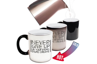 123T Funny Colour Changing Mugs - Never Give Up On Your Stupid Dreams