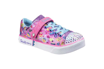 Skechers Childrens Girls Twinkle Breeze 2.0 Character Cutie Touch Fastening Trainers (Hot Pink/Multi)