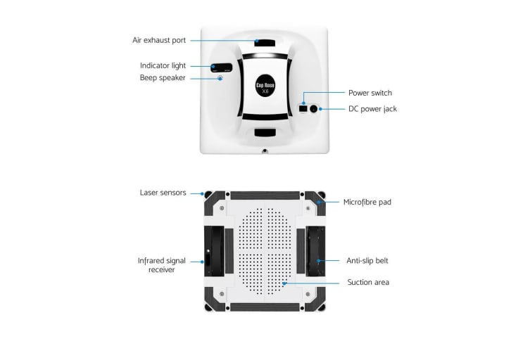 Cop Rose X6 Smart Window Cleaning Robot Automatic Electric Glass Cleaner Tool WH