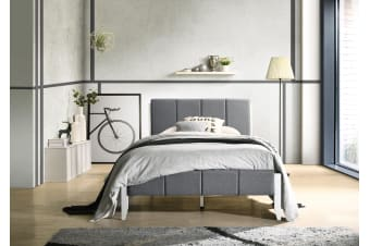 King Single Fabric Upholstered Bed Frame in Grey