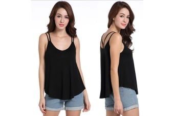 Womens Sexy V Neck Backless Strappy Tank Tops Workout Flowy Cami Blouse L