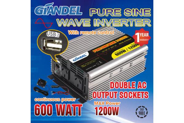 Image of Pure Sine Wave Inverter Thermal Overload Protection 600W